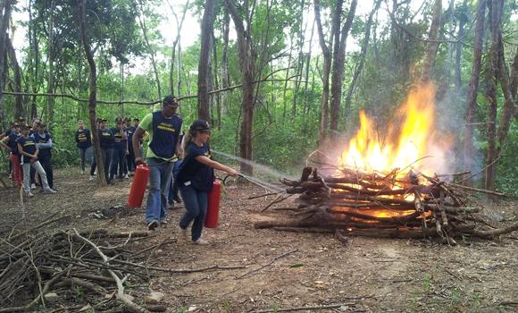 Alunos apagam fogo na mata em treinamento da Esaer Blog Vem Por Aqui