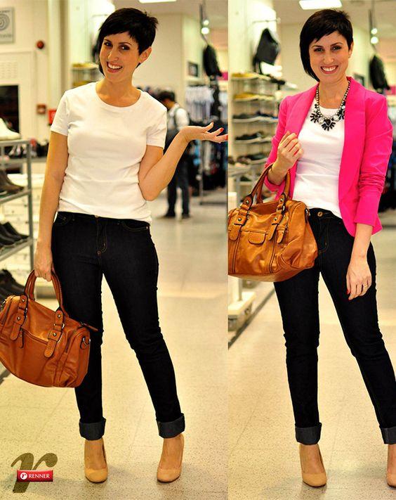 Ana com dois looks de jeans e camiseta Blog Vem Por Aqui