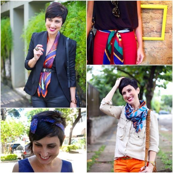 Ana com lenços amarrados de vários jeitos diferentes Blog Vem Por Aqui
