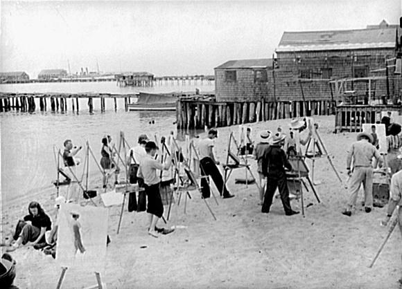 Pessoas pintando na praia de Provincetown nos anos 40 Blog Vem Por Aqui