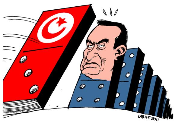 Charge de Carlos Latuff do presidente egípcio, Hosni Mubarak, como uma peça de um dominó caindo Blog Vem Por Aqui