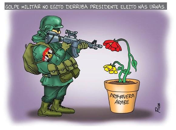 Charge que mostra soldado com arma apontada para flor plantada em vaso onde está escrito Primavera Árabe Blog Vem Por Aqui