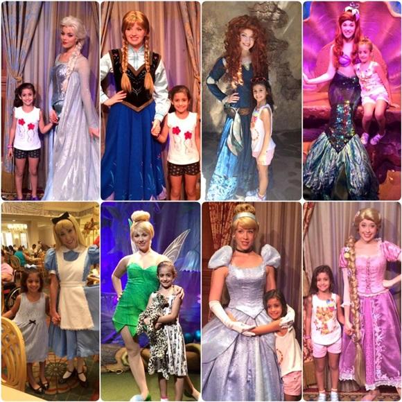 Várias fotos da Izabela com as princesas na Disney Blog Vem Por Aqui