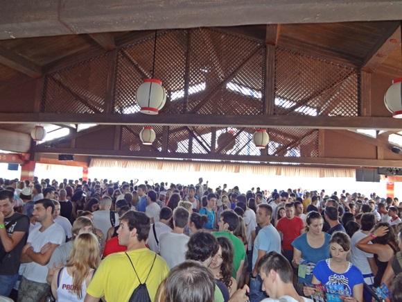 Multidão esperando para ir num brinquedo Blog Vem Por Aqui