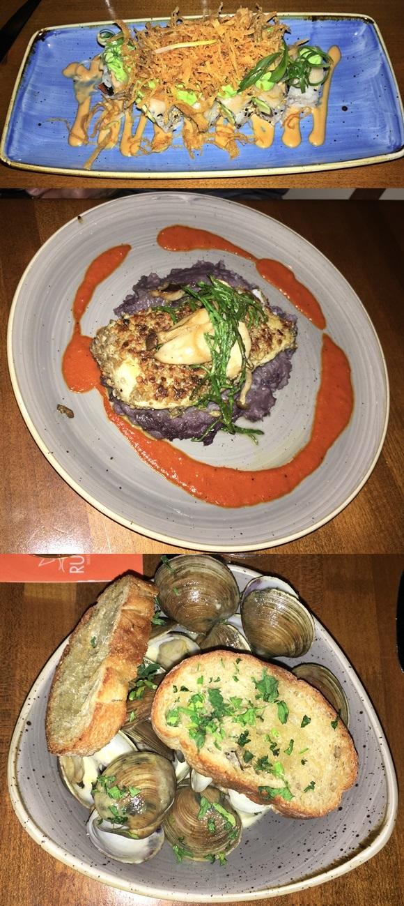 Mosaico com trio de pratos pedidos no Rusty Pelican, salmon rolls, filé de linguado e marisco com torradas em cima Blog Vem Por Aqui