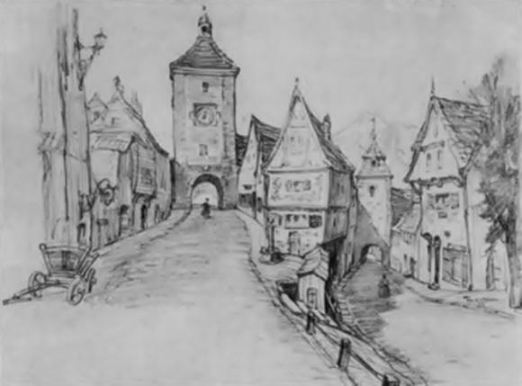Desenho da cidade do Pinóquio feito pelos estúdios Disney