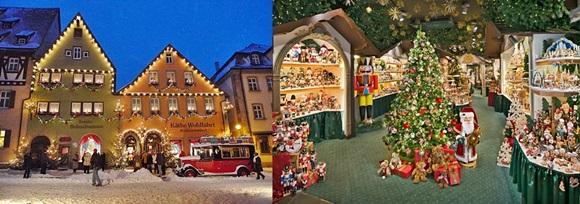 Montagem com a fachada da loja iluminada e a parte interna cheia de produtos natalinos Blog Vem Por Aqui