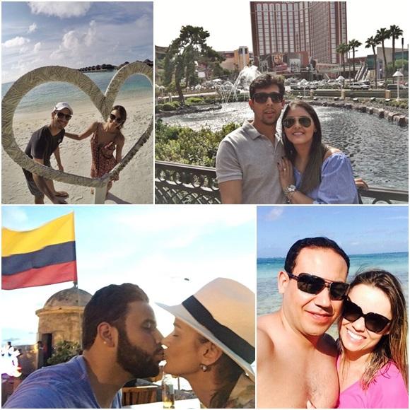 Mosaico com quatro casais de noivos em viagens feitas pela HoneyMoon Blog Vem Por Aqui