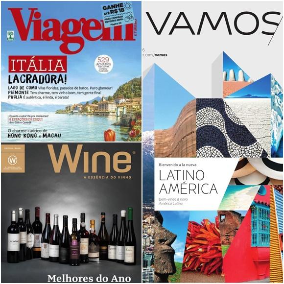 Mosaico com capas de das revistas para as quais Adriana escreve, Viagem e Turismo, Wine e Vamos (da Latam) Blog Vem Por Aqui