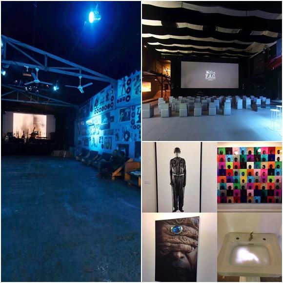 Mosaico com ambientes da FAC: pista, cinema e exposição de obras Blog Vem Por Aqui