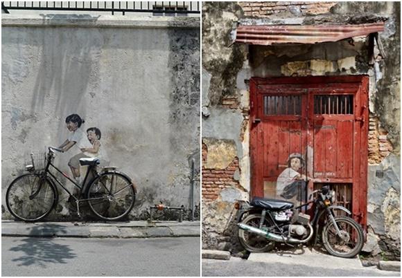 Mosaico com dois grafites, uma de uma menina na bicicleta com o irmão na garupa, num muro e outro de um menino numa moto, numa porta de uma casa velha Blog Vem Por Aqui