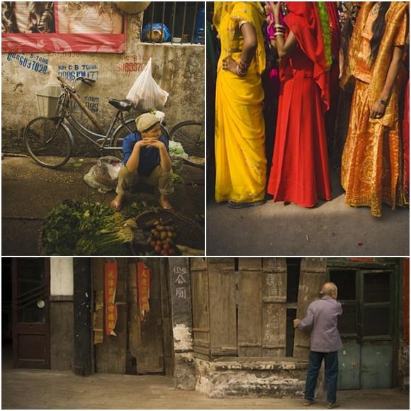 Mosaico com três fotos, embaixo Ping Yao, em cima Hoi An e Pushkar Blog Vem Por Aqui