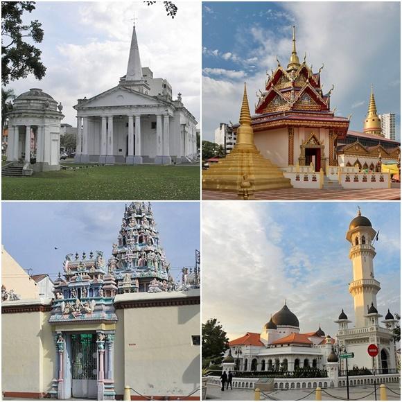 Mosaico com igreja, templo chinês, mesquita e templo hindu, no sentido horário Blog Vem Por Aqui