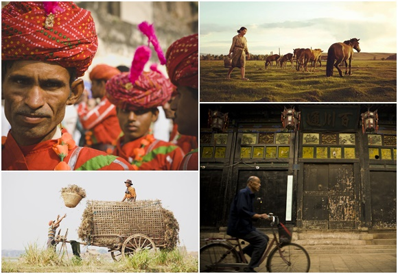 Mosaico com quatro fotos que Marco tirou na Ásia