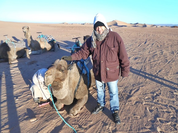 Fred com a mão na cabeça de um camelo deitado, com outro camelo ao lado e o deserto no fundo Blog Vem Por Aqui