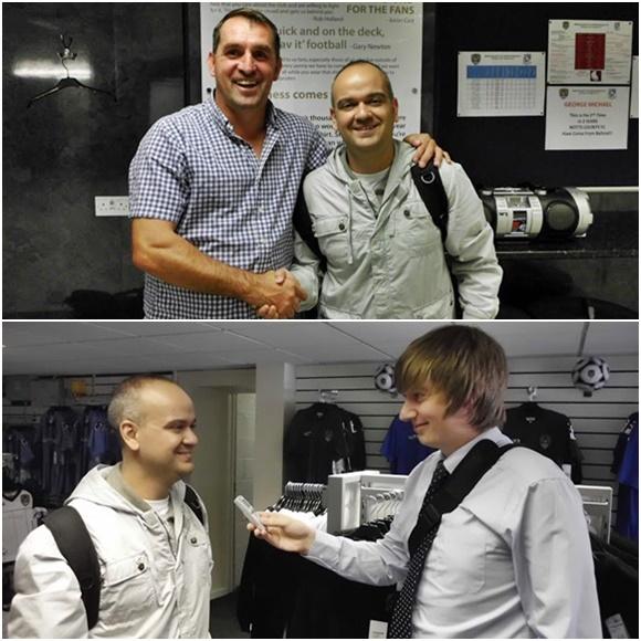 Mosaico com foto em cima de Fred apertando a mão do treinado e abaixo sendo entrevistado pelo assessor de imprensa Blog Vem Por Aqui