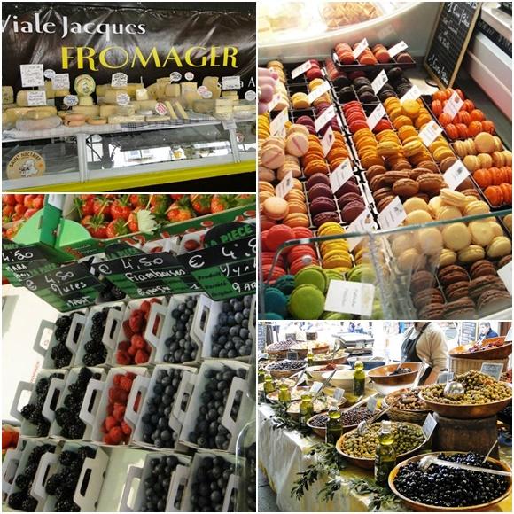 Mosaico com fotos de quatro produtos vendidos no mercado, no sentido horário, queijo, macarons, azeitona e frutas vermelhas Blog Vem Por Aqui