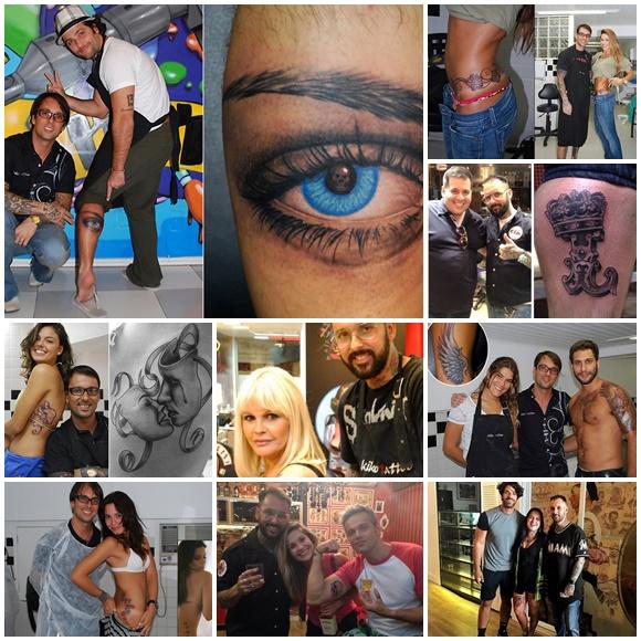Mosaico de fotos com Kiko e vários famosos tatuados por ele Blog Vem Por Aqui