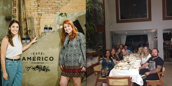 Mosaico com duas fotos do lançamento do Vem Por Aqui. A primeira em BH tem Juliana Miari (dona do Café Américo) e Érika Gimenes, encostadas ao lado de uma parede com a marca do Café Américo, local do lançamento Blog Vem Por Aqui