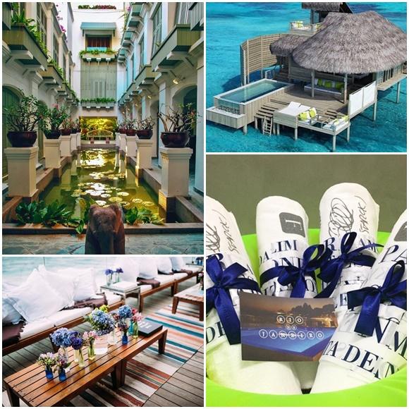 Mosaico com fotos do spa do hotel da Tailândia, do bangalô das Maldivas, de toalhas do hotel do Rio e do deck arrumado para a festa no Rio