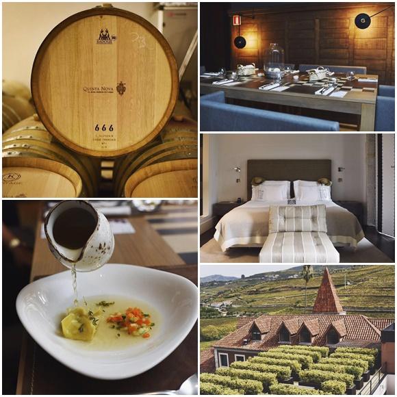 Mosaico com fotos da viagem a Portugal, barril de vinho escrito Quinta Nova, mesa de restaurante, quarto de hotel, casa com árvores na frente e jarra despejando um caldo num prato com comida Blog Vem Por Aqui