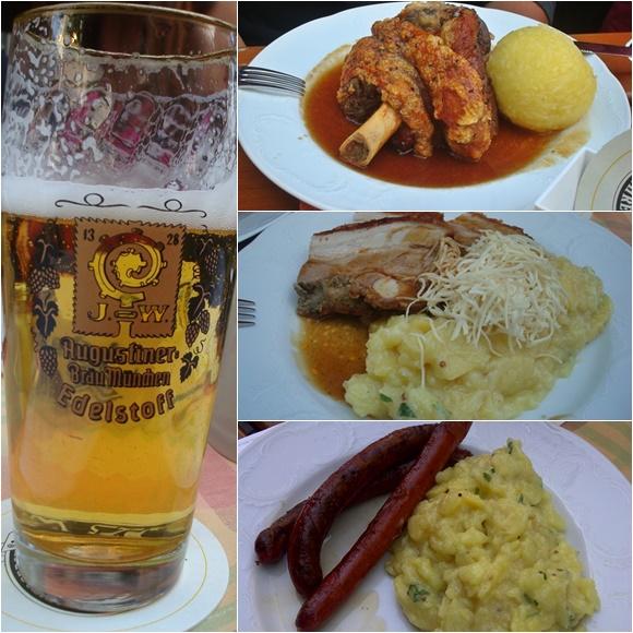 Mosaico com copo de cerveja com a marca da cervejaria, joelho de porco com bola de batata, porco crocante com purê e salsichas com purê Blog Vem Por Aqui