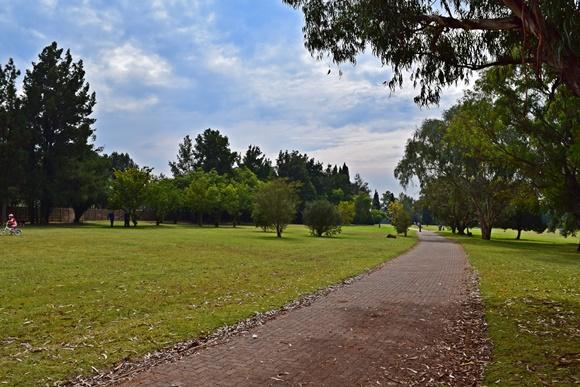 Parque da cidade com pista de caminhada no meio, gramados amplos com árvores ao lado Blog Vem Por Aqui