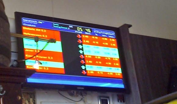 TV com cotação das cervejas, simulando a bolsa de valores Blog Vem Por Aqui