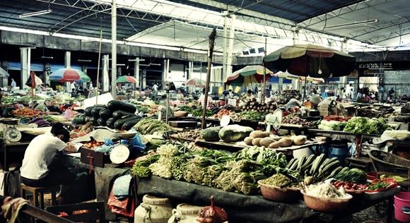 Mercado com várias barracas de frutas e legumes e mulher de cabeça baixa, fazendo anotações em uma delas Blog Vem Por Aqui