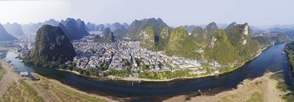 Vista aérea de Yangshuo Blog Vem Por Aqui
