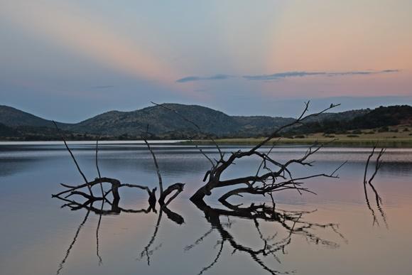Entardecer num lago do parque com galhos dentro de montanha ao fundo Blog Vem Por Aqui