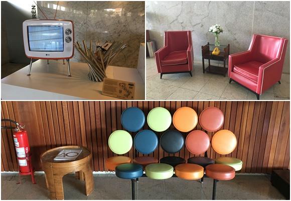Mosaico com fotos de moveis antigos, tem televisão com pés, poltronas vermelhas retrôs e sofá feito de vários círculos coloridos Blog Vem Por Aqui