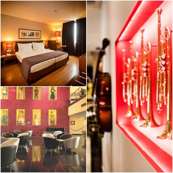 Mosaico com foto do quarto, de trompetes no restaurante e do lobby com peças de óperas vestidas em manequins que estão na parede Blog Vem Por Aqui