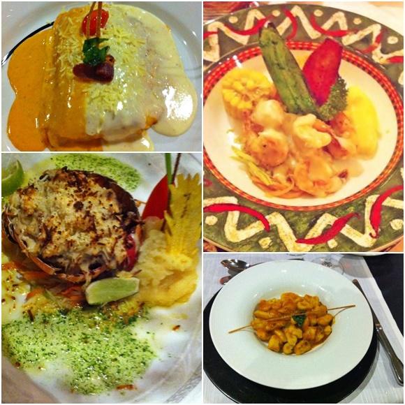 Mosaico com quatro pratos dos restaurantes do resort. Primeiro é um peixe com molho vermelho e branco, segundo camarões com milhos e batatas, terceiro nhoque e quarto lagosta Blog Vem Por Aqui