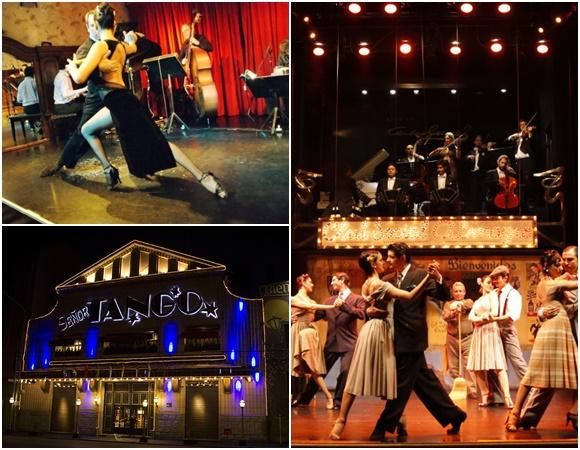 Mosaico com fotos de um casal dançando no palco do Café Tortoni, palco lotado de dançarinos e com orquestra em cima do Esquina Gardel e da fachada do Señor Tango Blog Vem Por Aqui