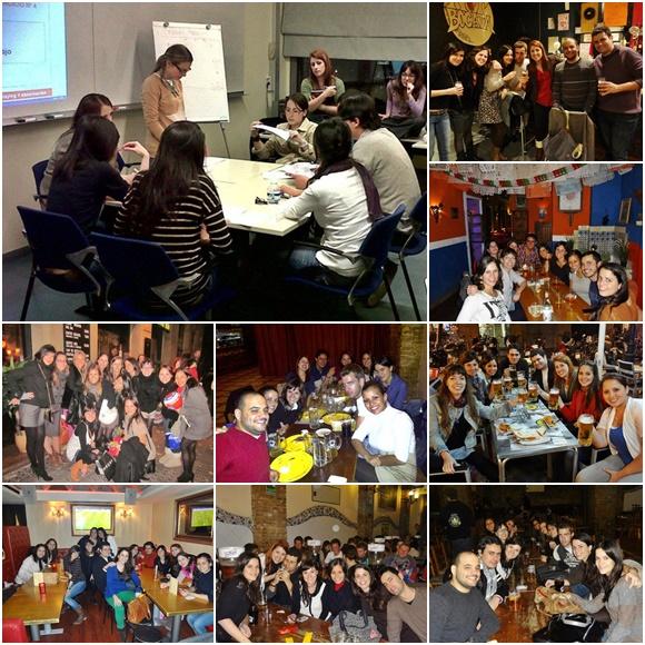 Mosaico com foto grande de Érika e colegas na sala de aula e fotos menores da turma em bares da cidade Blog Vem Por Aqui