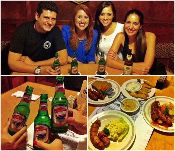 Mosaico com fotos de Mateus, Érika e as duas amigas, abaixo três mão brindando com garrafas de cerveja Panamá e ao lado pratos alemãs Blog Vem Por Aqui