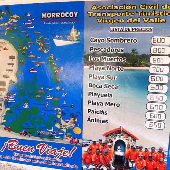 Placa com preços das lanchas para os cayos Blog Vem Por Aqui