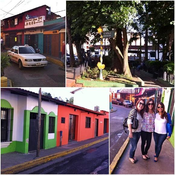 Mosaico com fotos da cidade, táxi em frente a casinhas coloridas, praça com árvores e placa com o nome da cidade, casinhas pintadas de verde e branco e de laranja e, por último Érika e as amigas Diana e Nath Blog Vem Por Aqui