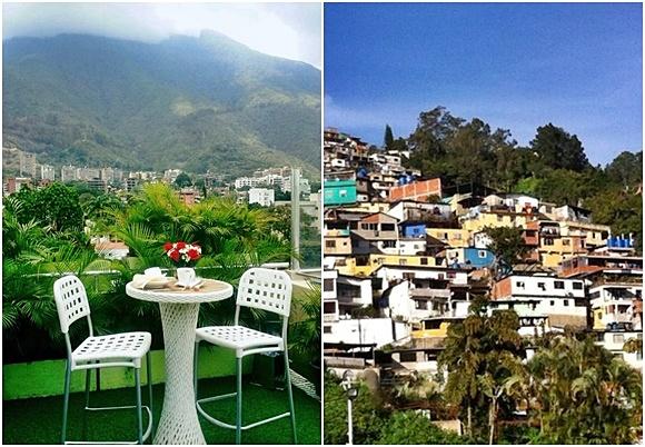 Mosaico com duas fotos, à esquerda mesa com duas cadeiras no restaurante do hotel com montanha verde ao fundo e à direita casas de favela no morro Blog Vem Por Aqui