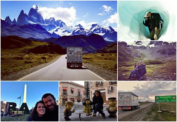 Mosaico com fotos do caminhão rumo a montanhas nevadas, dos dois num glaciar, deles sentados numa montanha, do caminhão numa estrada com placa de boas-vindas ao Chile, de Glória com a estátua da Matilda em Buenos Aires e dos dois diante do Obelisco da capital argentina Blog Vem Por Aqui