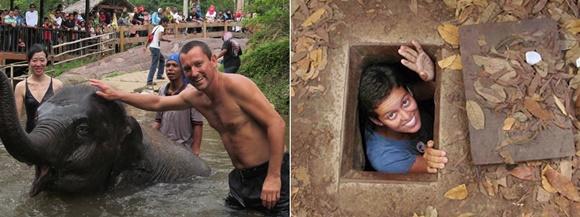 Mosaico com duas fotos, uma do Renato, na água, dando banho num elefante, acompanhado por outras pessoas na Malásia e outra da Glória num buraco da época da guerra, no Vietnã Blog Vem Por Aqui