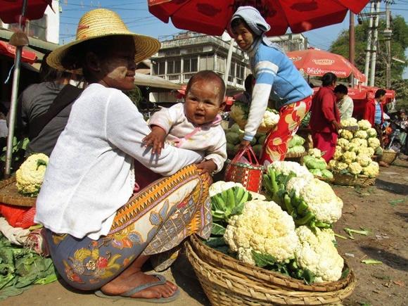 Mulher agachada com bebê no colo e um cesto cheio de couve-flor à frente Blog Vem Por Aqui