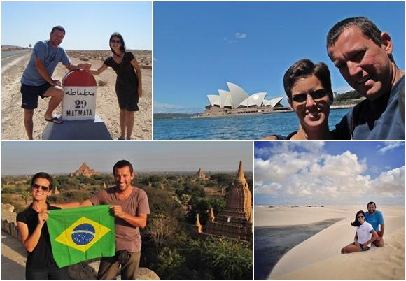 Mosaico de fotos do casal em vários países, primeiro do lado de uma placa em árabe na Tunísia, segunda em Sidney, terceira com a bandeira do Brasil em Mianmar e quarta nas dunas dos Lençóis Maranhenses Blog Vem Por Aqui