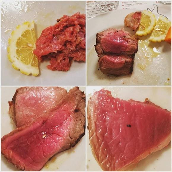 Mosaico com as carnes servidas, todas bem vermelhas, os dois primeiros com fatias de limão siciliano no prato Blog Vem Por Aqui