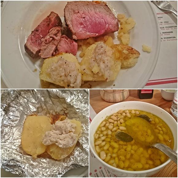 Mosaico com fotos das comidas, na primeira carne com batata, na segunda, a batada com manteiga e, ao lado, feijão branco Blog Vem Por Aqui