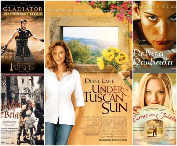 Mosaico com os cartazes dos filmes Gladiador e A Vida é Bela à esquerda, Sob o Sol da Toscana no meio e Beleza Roubada e Cartas para Julieta à Direita Blog Vem Por Aqui