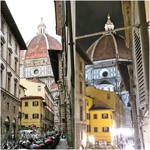 Mosaico com o Duomo visto da janela de dia e de noite Blog Vem Por Aqui