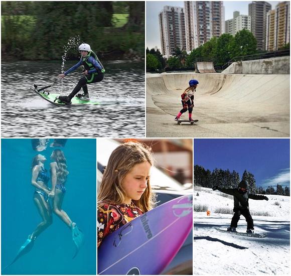 Mosaico de fotos da Isabelle praticando vários esportes: numa prancha de jetsurf, numa pista de skate em cima de um, no mar com pés de pato em frente a mãe, com uma prancha de surf andando e no snowboard Blog Vem Por Aqui
