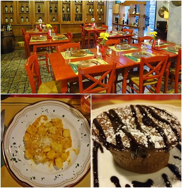Mosaico com fotos do restaurante, de um prato com nhoque e da torta de chocolate Blog Vem Por Aqui